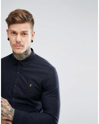 Farah - Blue Oxford Shirt With Black Weft Slim Fit In Navy for Men - Lyst