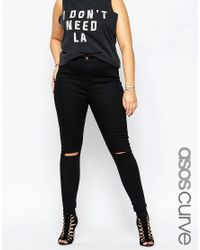 ASOS   Ridley Skinny Jeans In Clean Black With Rip & Destroy Busts   Lyst