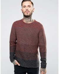 Only & Sons | Red Ombre Knitted Jumper for Men | Lyst