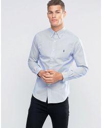 Polo Ralph Lauren | Stripe Shirt In Slim Fit Blue for Men | Lyst