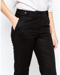 Oasis - Compact Cotton Trousers - Black - Lyst