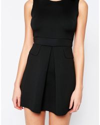 AX Paris - Black Pleated Skater Dress With Pockets - Lyst