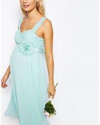 ASOS - Black Wedding Chiffon Midi Dress With Corsage - Lyst