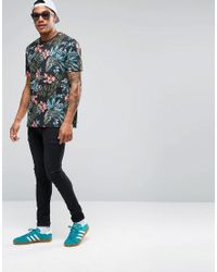 ASOS - Blue T-shirt With All Over Tropical Floral Print In Relaxed Fit for Men - Lyst