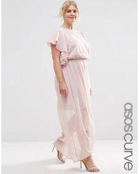 ASOS   Pink Ruffle Sleeve Maxi Dress   Lyst