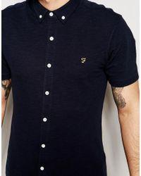 Farah - Black Shirt In Pique Cotton Short Sleeves Slim Fit - Navy for Men - Lyst