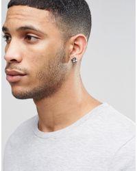 ASOS - Black Pyramid Plug Earrings Stone Effect - Lyst