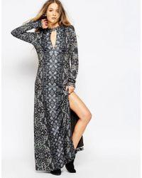 Free People | Gray Cabaret Long Sleeve Dress | Lyst