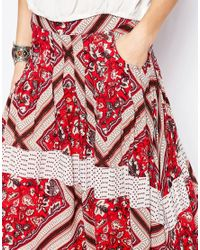 Free People | Red Printed Paradise Skirt - Pimento Combo | Lyst
