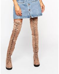 Truffle Collection - Natural Truffle Lace Up Over The Knee Chunky Boot - Lyst