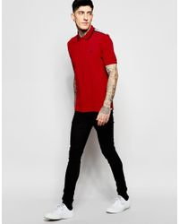 Stussy - Red Polo Shirt With Shoulder Trim Slim Fit for Men - Lyst