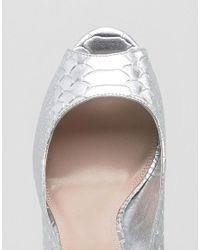 Dune - Dinaa Metallic Peep Toe Pumps - Lyst