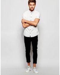 Blend - Multicolor Slim Shirt Short Sleeve Buttondown All Over Print In White for Men - Lyst