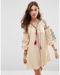 ASOS   Natural Premium Swing Dress With Aztec Embroidery   Lyst