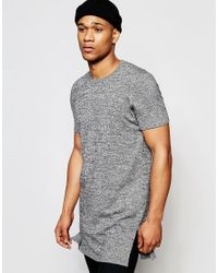 ASOS - Gray Extreme Longline Knitted T-shirt With Side Splits for Men - Lyst