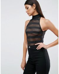ASOS - Black Body With High Neck In Stripe - Lyst