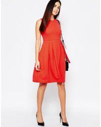 Warehouse - Orange Belted Skater Dress - Lyst