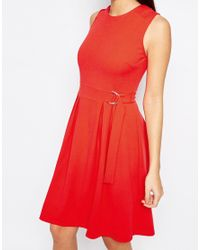 Warehouse - Orange Belted Skater Dress - Lyst