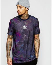 Adidas Originals - Black T-shirt In Marble Print Aj7871 for Men - Lyst