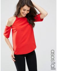 ASOS   Red Crepe Cold Shoulder Top With High Neck Detail   Lyst