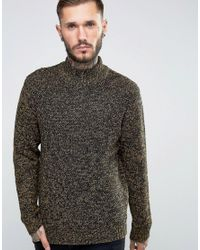 Only & Sons | Blue High Neck Knitted Sweater In Twisted Yarn for Men | Lyst