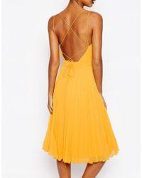 ASOS - Orange Deep Plunge Pleated Cami Midi Dress - Lyst