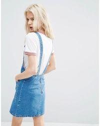 ASOS | Denim Mini Pinafore Dress In Mid-wash Blue | Lyst