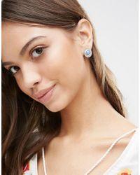 Ashiana - Metallic Vintage Effect Stone Stud Earrings - Silver/blue - Lyst