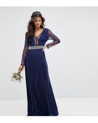 227fd58691ff TFNC London. Women s Blue Wedding Pleated Maxi Dress With Long Sleeves And Lace  Inserts ...