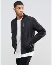 ASOS   Bomber Jacket With Zip Chest Pocket In Black for Men   Lyst