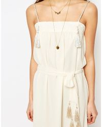 Sessun - Natural Midi Dress With Tassel Details In White - Lyst
