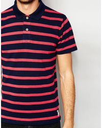 Esprit - Red Stripe Pique Polo Shirt for Men - Lyst