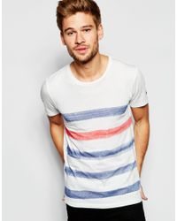 Esprit - White T-shirt With Painted Breton Stripe for Men - Lyst