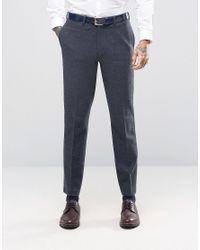 ASOS | Blue Slim Suit Trousers In Navy Herringbone for Men | Lyst