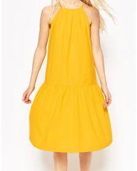 ASOS - Yellow Tiered Linen Midi Sundress - Lyst