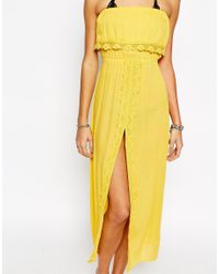 Akasa - Gray Crochet Beach Maxi Split Dress - Yellow - Lyst