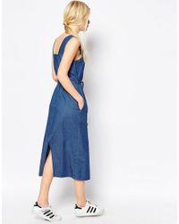 ASOS - Denim Belted Midi Dress In Mid-wash Blue - Lyst