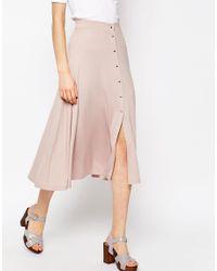 ASOS - Natural Midi Skater Skirt With Poppers - Lyst