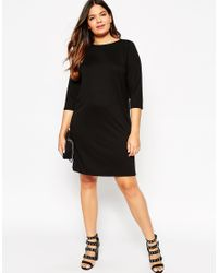 ASOS | Black Ponte Shift Dress With 3/4 Sleeve | Lyst