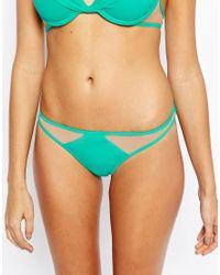 ASOS - Natural Mix And Match Mesh Insert Brazilian Bikini Bottom - Lyst