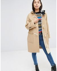 ASOS | Natural Hooded Duffle Coat In Oversized Fit | Lyst