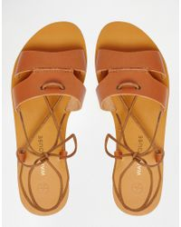 Warehouse - Brown Lace Up Flat Sandal - Lyst