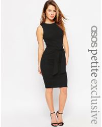 ASOS - Ribbed Tie Front Dress - Black - Lyst