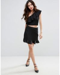 Fashion Union - Black One Shoulder Top With Frill - Lyst