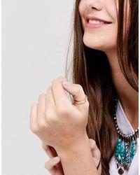 ASOS DESIGN - Metallic Feather Detail Thumb Ring - Lyst