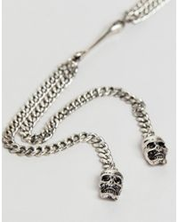 Reclaimed (vintage) - Metallic Inspired Lariat Necklace With Skull Exclusive At Asos for Men - Lyst