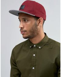 ASOS | Red Snapback Cap With Melton Contrast for Men | Lyst