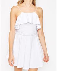 ASOS - White Ruffle Mini Skater Dress - Lyst