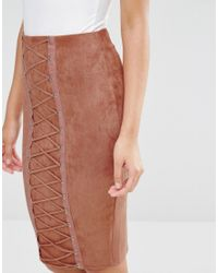 Naanaa - Pink Pencil Skirt With Corset Lace Up Detail - Lyst