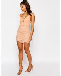 Love Triangle - Natural Lace Plunge Front Mini Dress - Lyst